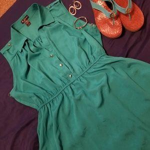 Hi-Low sleeveless Aqua Dress